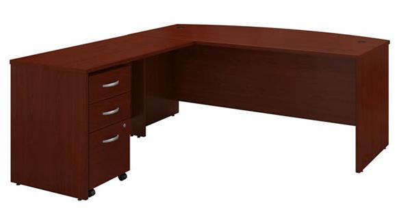 "L Shaped Desks Bush 72"" W Bow Front L-Shaped Desk with Assembled 3 Drawer Mobile File Cabinet"