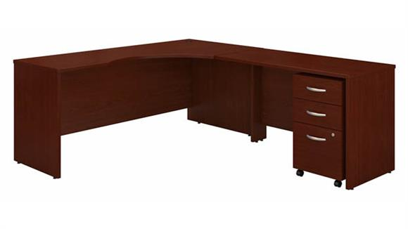 """Corner Desks Bush 72"""" W Right Handed Corner Desk with 48"""" W Return and Assembled 3 Drawer Mobile File Cabinet"""