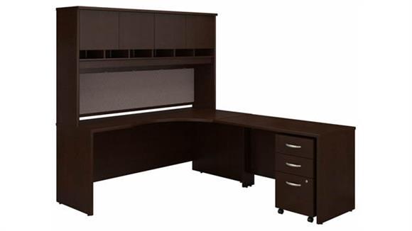 """Corner Desks Bush 72"""" W Right Handed Corner Desk with Hutch and Assembled 3 Drawer Mobile File Cabinet"""