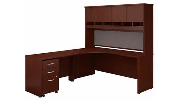 """Corner Desks Bush 72"""" W Left Handed Corner Desk with Hutch and Assembled 3 Drawer Mobile File Cabinet"""