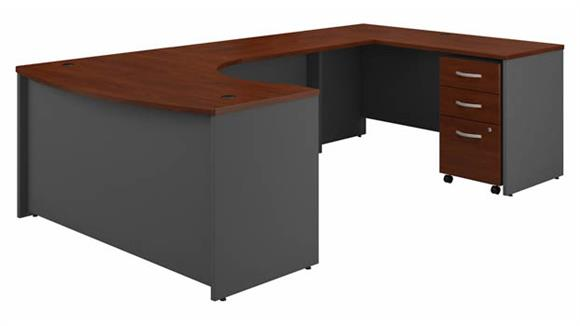 "U Shaped Desks Bush 60""W Right Handed Bow Front U-Shaped Desk with Assembled Mobile File Cabinet"