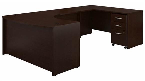 "U Shaped Desks Bush 60"" W Right Handed Bow Front U-Shaped Desk with Assembled Mobile File Cabinet"