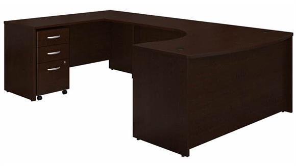 """U Shaped Desks Bush 60"""" W Left Handed Bow Front U-Shaped Desk with Assembled Mobile File Cabinet"""