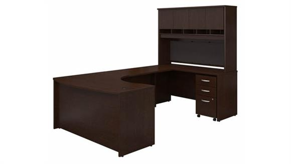 """U Shaped Desks Bush 60"""" W Right Handed Bow Front U-Shaped Desk with Hutch and Assembled Mobile File Cabinet"""