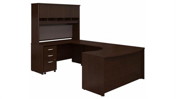 """U Shaped Desks Bush 60"""" W Left Handed Bow Front U-Shaped Desk with Hutch and Assembled Mobile File Cabinet"""