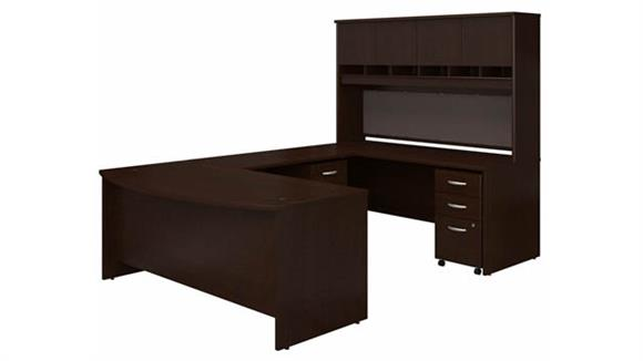 "U Shaped Desks Bush 72"" W Bow Front U-Shaped Desk with Hutch and (2) Assembled Mobile File Cabinets"