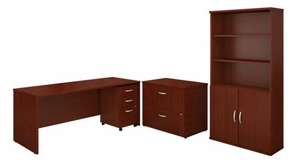 """Computer Desks Bush 72"""" W Office Desk with Bookcase and Assembled Lateral and Mobile File Cabinets"""