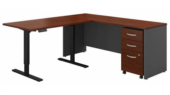 "Adjustable Height Desks & Tables Bush 72""W L-Shaped Desk with 48""W Height Adjustable Return and Assembled 3 Drawer Mobile File Cabinet"
