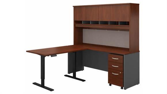 """Adjustable Height Desks & Tables Bush 72""""W L-Shaped Desk with Hutch, 48""""W Height Adjustable Return and Assembled 3 Drawer Mobile File Cabinet"""