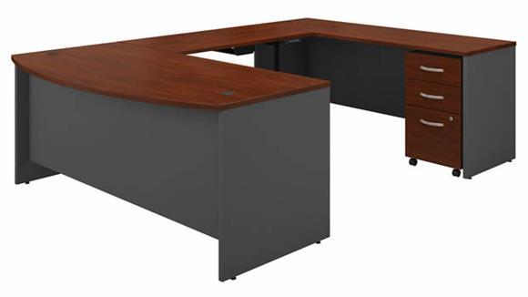 "Adjustable Height Desks & Tables Bush 72""W U-Shaped Bow Front Desk with Height Adjustable Bridge and Assembled 3 Drawer Mobile File Cabinet"