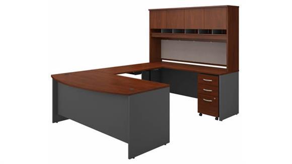 "Adjustable Height Desks & Tables Bush 72""W U-Shaped Bow Front Desk, Credenza with Hutch, Height Adjustable Bridge and Assembled 3 Drawer Mobile File Cabinet"