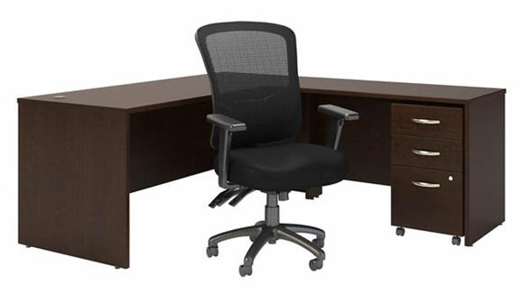 """L Shaped Desks Bush 72"""" W L-Shaped Desk with High Back Multifunction Office Chair and Assembled Mobile File Cabinet"""