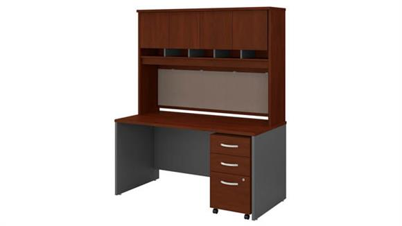 "Computer Desks Bush 60"" W x 30"" D Office Desk with Hutch and Assembled  Mobile File Cabinet"
