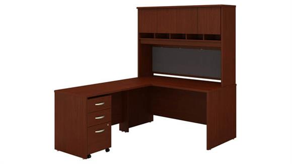 "L Shaped Desks Bush 60""W L-Shaped Desk with Hutch and Assembled Mobile File Cabinet"