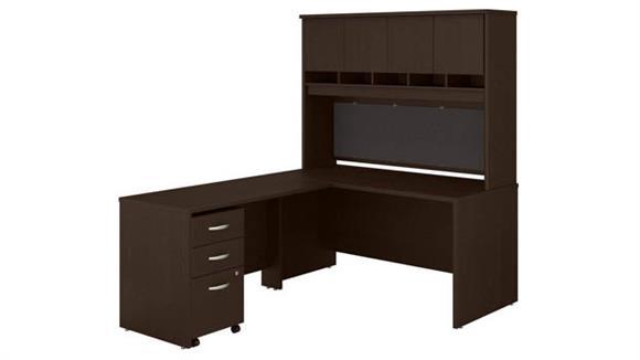 "L Shaped Desks Bush 60"" W L-Shaped Desk with Hutch and Assembled Mobile File Cabinet"