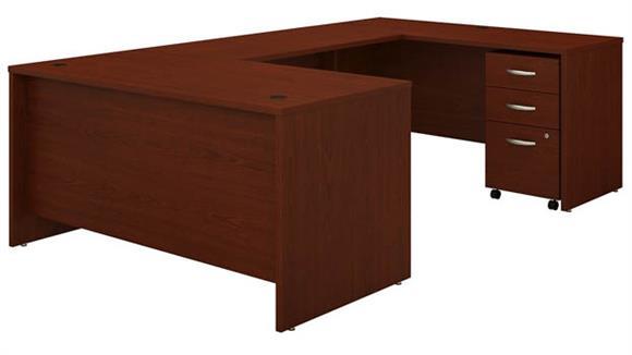 """U Shaped Desks Bush 60"""" W U-Shaped Desk with 3 Drawer Mobile File Cabinet"""