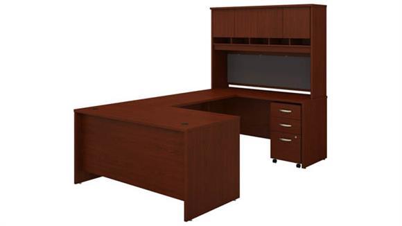 "U Shaped Desks Bush 60""W U-Shaped Desk with Hutch and Mobile File Cabinet"