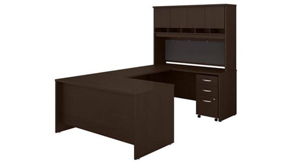 "U Shaped Desks Bush 60"" W U-Shaped Desk with Hutch and Mobile File Cabinet"