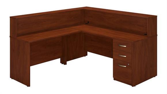 "Reception Desks Bush 72""W x 30""D L Reception Station with Storage"
