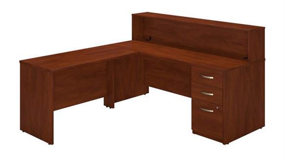 "Reception Desks Bush 72""W Straight Reception Station with Storage"
