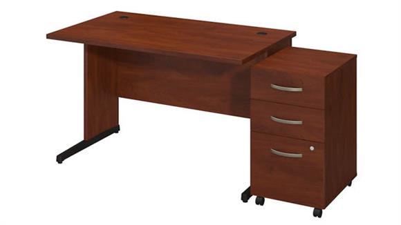 "Executive Desks Bush 48""W x 30""D C Leg Desk with 3 Drawer Pedestal"
