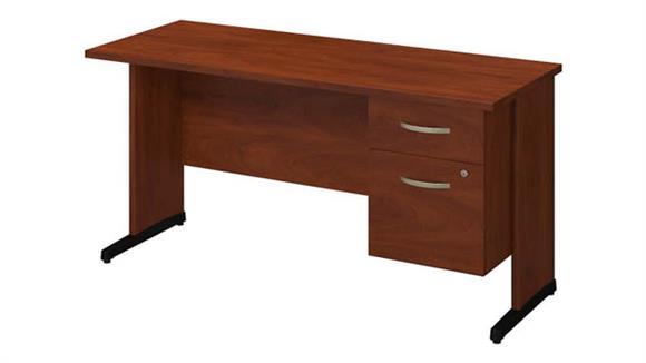 """Executive Desks Bush 60""""W x 24""""D C-Leg Desk with 3/4 Pedestal"""
