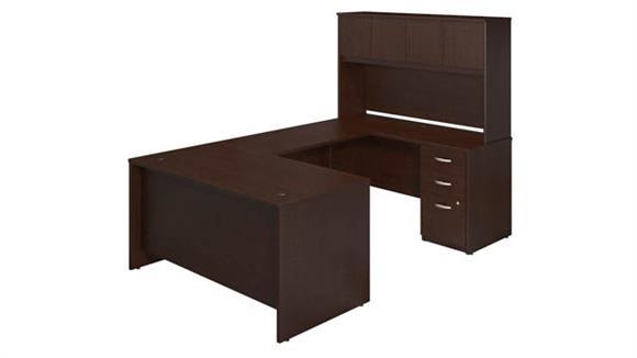 """U Shaped Desks Bush 60""""W x 30""""D U-Station with Storage"""