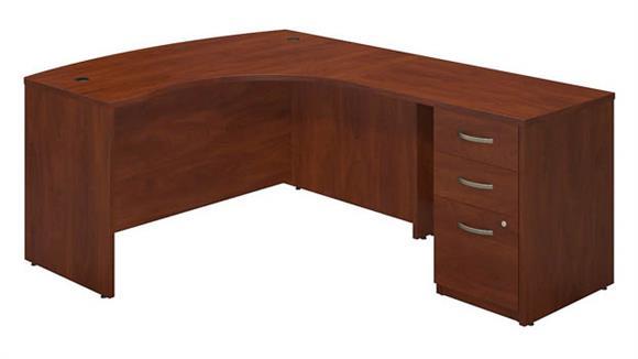 "L Shaped Desks Bush 60""W x 43""D Right Hand L-Desk with Return and 3 Drawer Pedestal"