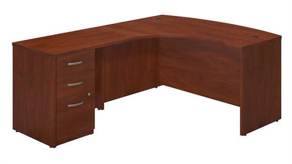 """L Shaped Desks Bush 60""""W x 43""""D Left Hand L-Desk with Return and 3 Drawer Pedestal"""
