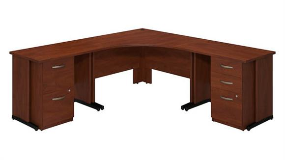"Corner Desks Bush 48""W x 48""D Corner Desk with 36""W Desks and 2 and 3 Drawer Pedestals"