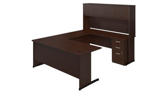 """U Shaped Desks Bush 72""""W x 30""""D C-Leg U-Station with Storage"""