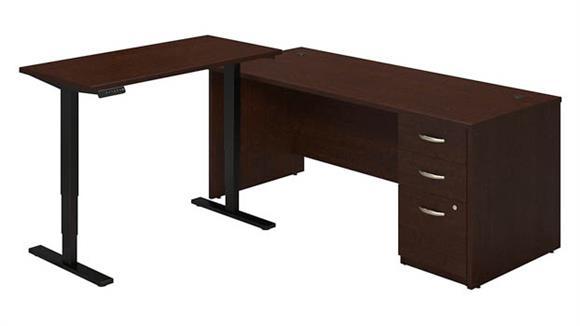"""L Shaped Desks Bush 72""""W L Desk with Height Adjustable Standing Return"""