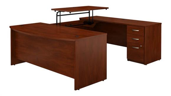 """Adjustable Height Desks & Tables Bush 72""""W x 36""""D 3 Position Sit to Stand Bow Front U Shaped Desk with 3 Drawer File Cabinet"""