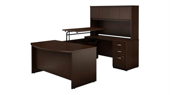 """Adjustable Height Desks & Tables Bush 60""""W x 36""""D 3 Position Sit to Stand Bow Front U Shaped Desk with Hutch and 3 Drawer File Cabinet"""
