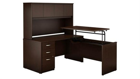 """Adjustable Height Desks & Tables Bush 60""""W x 30""""D 3 Position Sit to Stand L Shaped Desk with Hutch and 3 Drawer File Cabinet"""