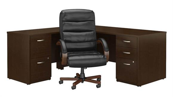 """L Shaped Desks Bush 72""""W L Shaped Desk with File Cabinets and High Back Executive Office Chair"""