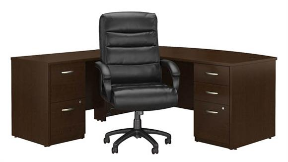 "L Shaped Desks Bush 72""W Bow Front L Shaped Desk with File Cabinets and High Back Office Chair"