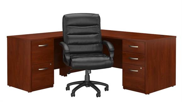 "L Shaped Desks Bush 72""W L Shaped Desk with File Cabinets and Mid Back Executive Office Chair"