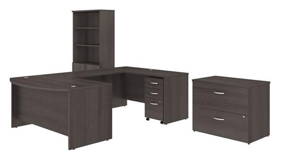 "U Shaped Desks Bush 60""W x 36""D U Shaped Desk with Bookcase and File Cabinets"