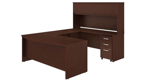 "U Shaped Desks Bush 72""W x 36""D U-Shaped Desk with Hutch and Mobile File Cabinet"