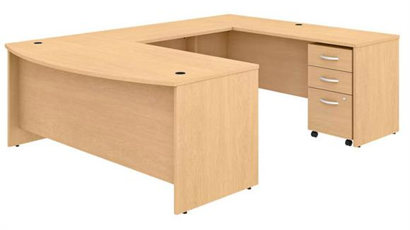 "U Shaped Desks Bush 72""W x 36""D U-Shaped Desk with Mobile File Cabinet"