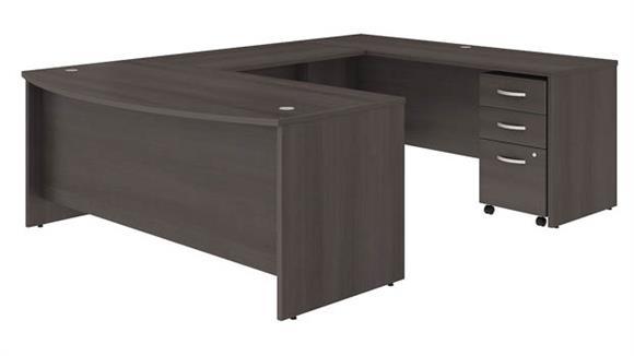 "U Shaped Desks Bush 72""W x 36""D U-Shaped Desk with Mobile File Cabinet"