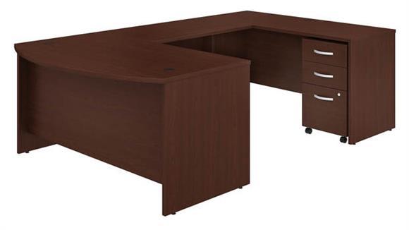"U Shaped Desks Bush 60""W x 36""D U-Shaped Desk with Mobile File Cabinet"