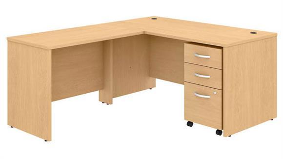 "Executive Desks Bush 60""W x 30""D L-Shaped Desk with Mobile File Cabinet and 42""W Return"