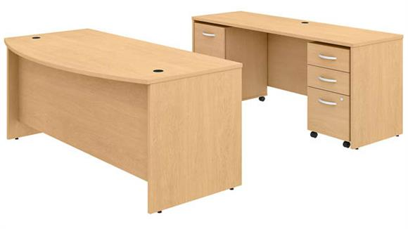 """Executive Desks Bush 72""""W x 36""""D Bow Front Desk and Credenza with 2 Mobile File Cabinets"""
