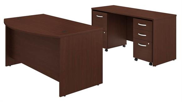 """Executive Desks Bush 60""""W x 36""""D Bow Front Desk and Credenza with 2 Mobile File Cabinets"""