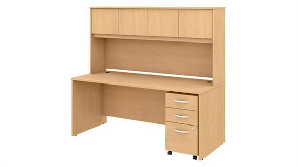 "Executive Desks Bush 72""W x 30""D Office Desk with Hutch and Mobile File Cabinet"