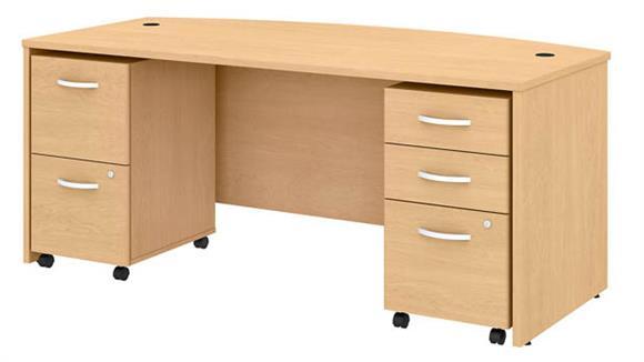 "Executive Desks Bush 72""W x 36""D Bow Front Desk with 2 Mobile File Cabinets"