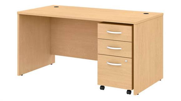 """Executive Desks Bush 60""""W x 30""""D Office Desk with Mobile File Cabinet"""