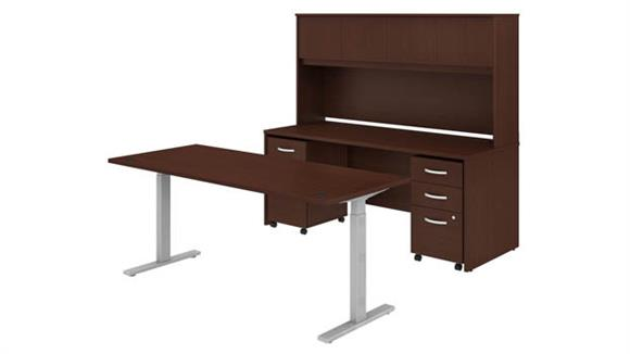 """Adjustable Height Desks & Tables Bush 72""""W x 30""""D Height Adjustable Standing Desk, Credenza with Hutch and 2 Mobile File Cabinets"""